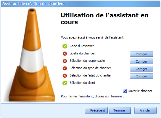 assistant recapitulatif creation chantier
